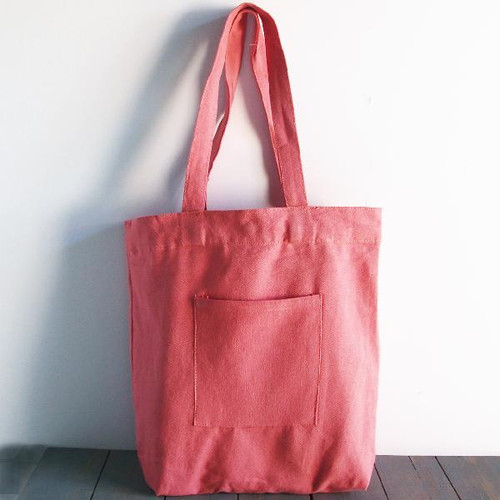 "Wholesale Canvas Tote Bags, Washed Canvas Tote Bag with Side Pockets Pink 14"" x 14"" x 5""D, B799-75 