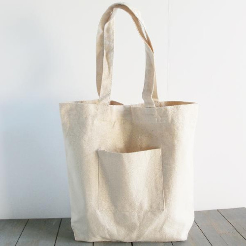 "Wholesale Canvas Tote Bags, Washed Canvas Tote Bag with Side Pockets Natural 14"" x 14"" x 5""D, B799-71 