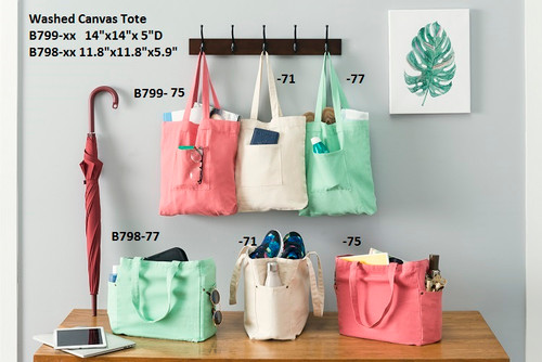Washed Canvas Tote Bag with Side Pockets, Wholesale Canvas Tote Bags | Packaging Decor