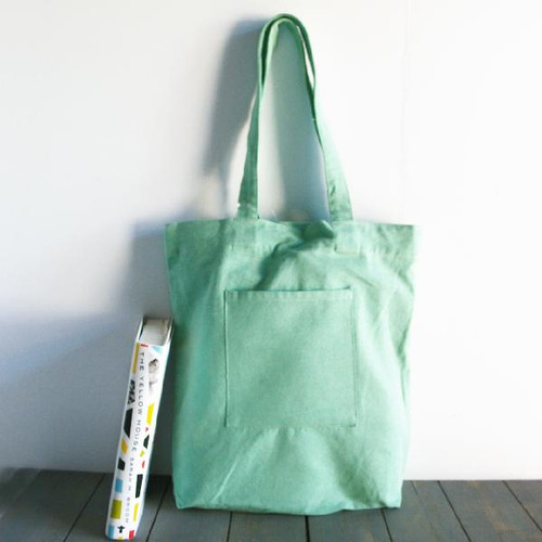 "Washed Canvas Tote Bag with Front Pocket Pistachio Green 14"" W x 14"" H  x 5"" Gusset"