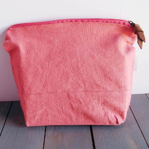"Washed Canvas Zipper Pouch  with Leather Puller Pink 11"" W x 8"" L x 3"" Gusset"