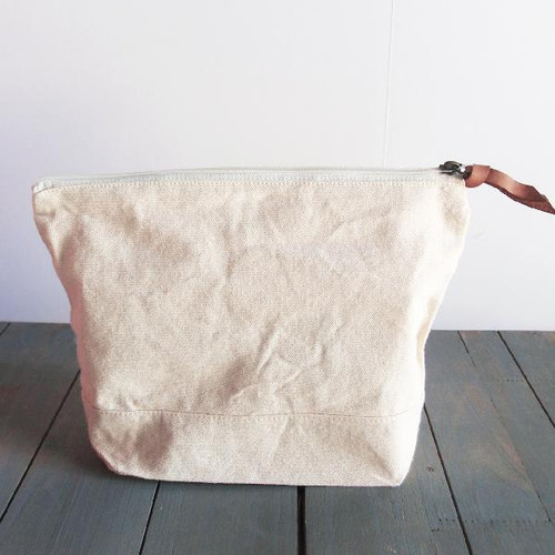 "Washed Canvas Zipper Pouch with Leather Puller Natural 11"" W x 8"" L x 3"" Gusset"
