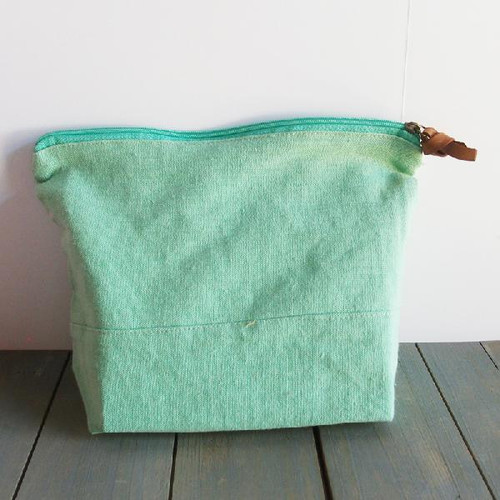 "Washed Canvas Zipper Pouch with Leather Puller Mint Green 11"" W x 8"" L x 3"" Gusset"