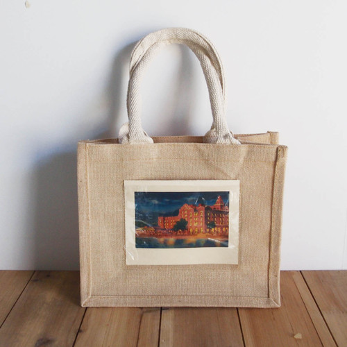 "Jute Blend Tote with Photo Pocket 10"" x 8"" x 5"" White Handles"