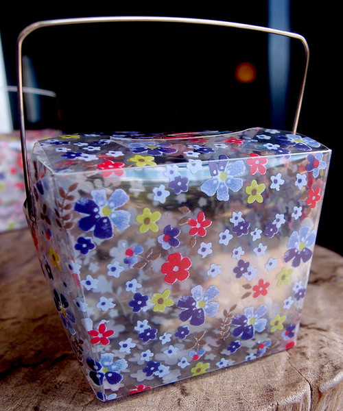 "1 5/8""x1 5/8""x2"" Takeout Box-Purple/Red Floral"