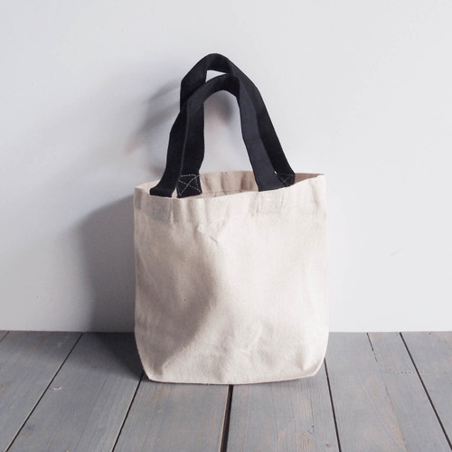 "Small Cotton Canvas Tote  w/Black Handles  9.5""x 8"" x 3"""