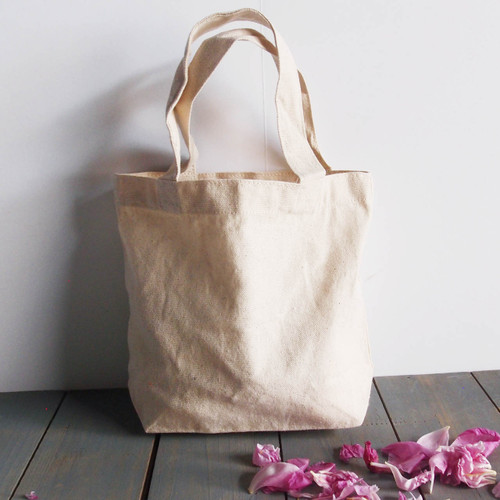 "Small Cotton Canvas Tote  9.5""x 8"" x 3"""