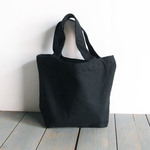 "Small Cotton Canvas Tote Bag Black with Black Handles 9 1/2"" W x 8"" H x 3"" Gusset"