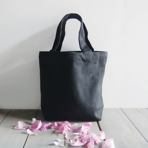 "Small Cotton Canvas Tote Black with Black Handles  9.5""x 8"" x 3"""
