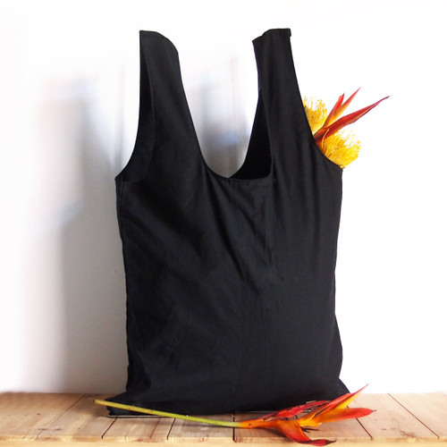 "Black Cotton Tote Bags 19""W x 17"" H x 2"" Gusset"