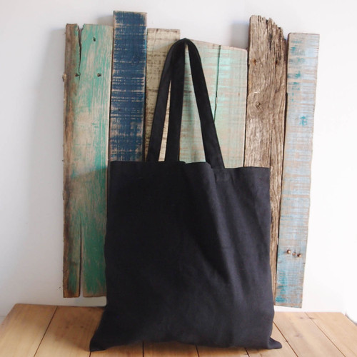 "Black Cotton Canvas Flat Tote 15"" W x 15"" H"