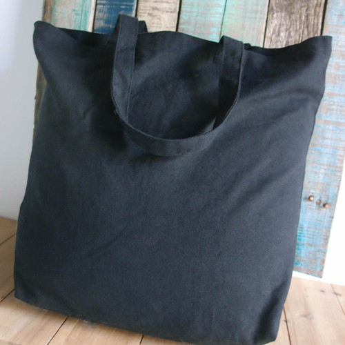 "Black Cotton Canvas Tote Bag 18"" W x 15"" H x 5.75"" Gusset"