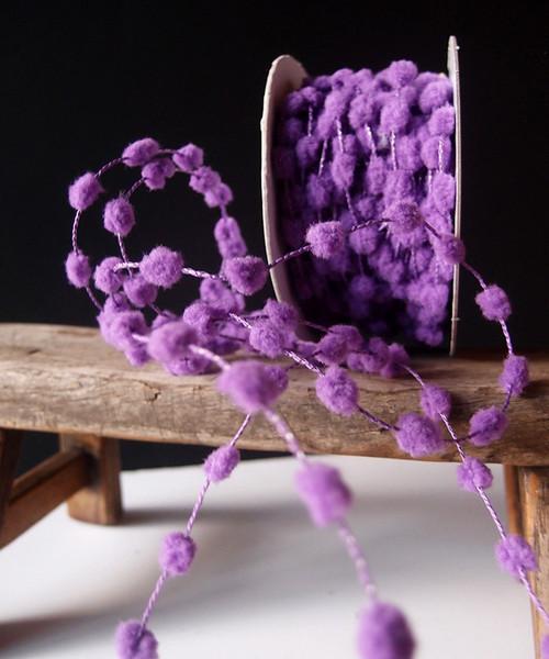 Lavender Wired Pom Pom Trim