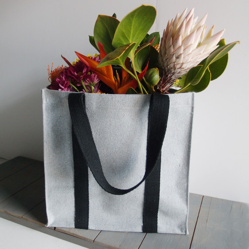 """Gray Recycled Canvas Tote with Black Band 12""""W x 12""""H x 7 3/4""""D (B890-79)"""