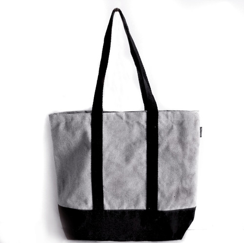 "Gray Recycled Canvas Tote with Black Band 18""W x 15""H x 5 3/4"" Gusset B894-79, Wholesale Cotton Bags, Wholesale Canvas Tote Bags 