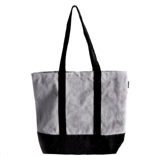 "Gray Recycled Canvas Tote with Black Band 18""W x 15""H x 5 3/4"" Gusset B894-79, Wholesale Recycled Canvas Bags, Cotton Tote Bags 