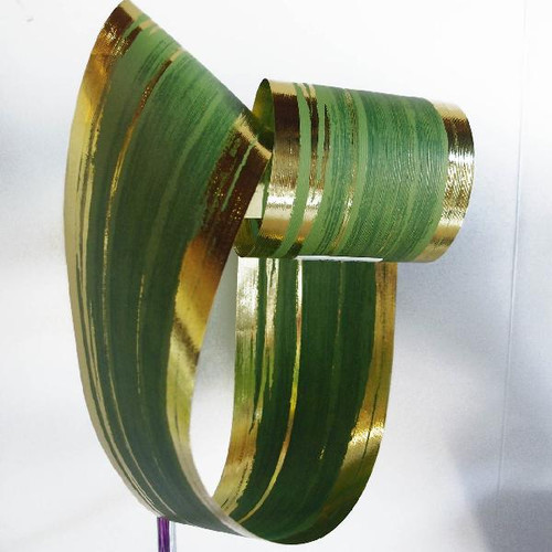 Metallic Green & Gold Aspidistra Leaf Ribbon