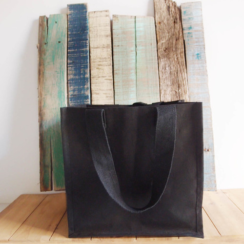 "Black Canvas Shopping Tote Bag 12"" W x 12"" H x 7 3/4"" Gusset B890-89, Wholesale Black Canvas Tote Bags, Wholesale Cotton Bags 