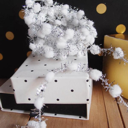 White Wired Pom Pom with Silver Tinsel