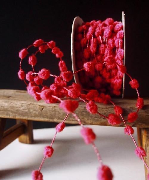 Red Wired Pom Pom Trim