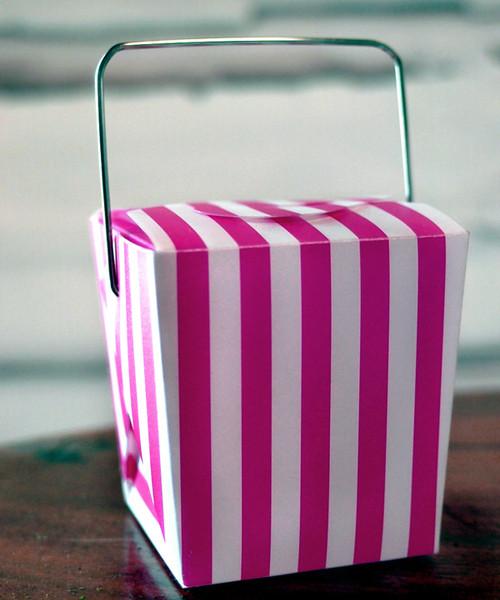 """1 5/8""""x1 5/8""""x2"""" Takeout Box-Hot Pink Stripes"""
