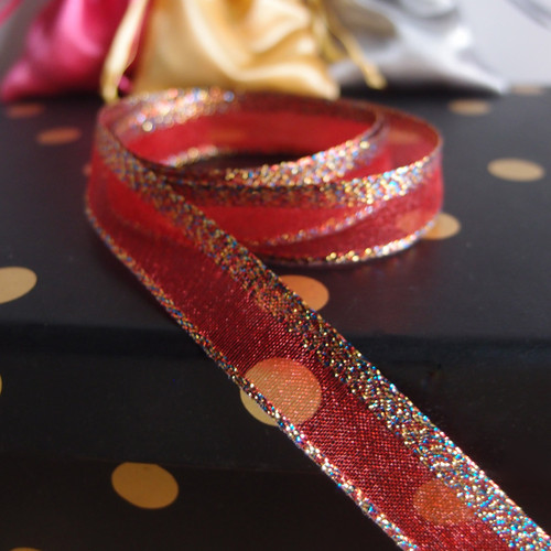 Red Glittery Sheer Ribbon