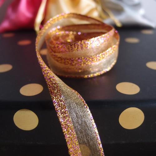 Gold Glittery Sheer Ribbon