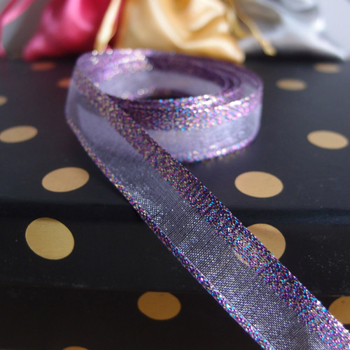 Lavender Glittery Sheer Ribbon
