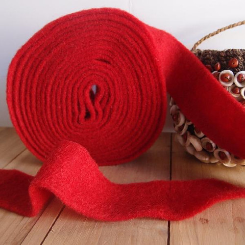 Red Pure Wool Felt Ribbon (2 sizes)