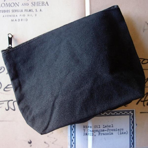 "Black Recycled Canvas Zipper Bag 8"""