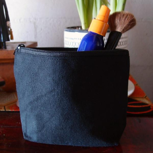 Black Recycled Canvas Zipper Bag  10""