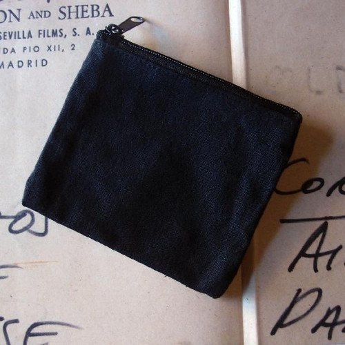 Black Recycled Canvas Flat Zipper Bag Small