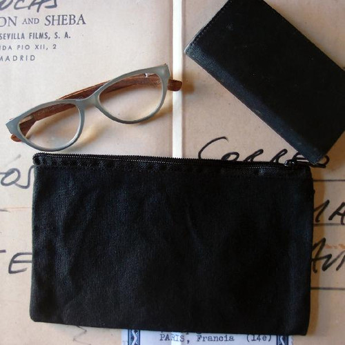 Black Recycled Canvas Flat Zipper Pouch 9 1/4""