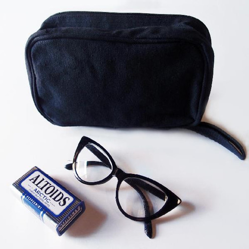 Black Recycled Canvas Travel Kit Bag Dopp Kit