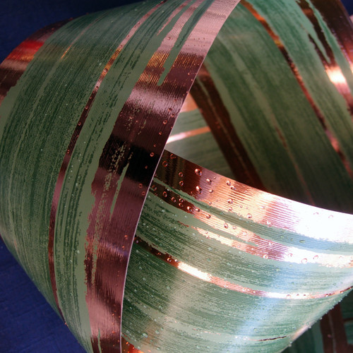 Metallic Rose Gold and Green Aspidistra Leaf Ribbon