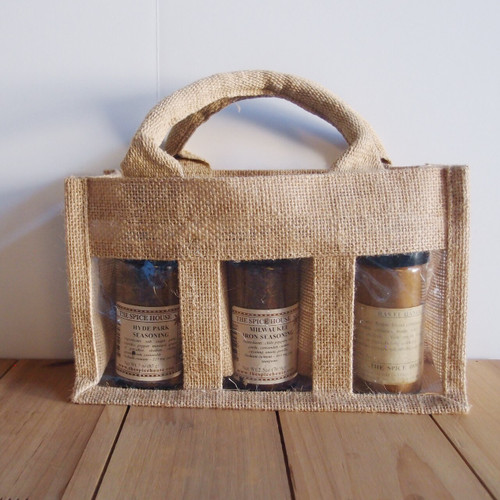 3-Jar Burlap Gift Set Tote Bag B937-21, Wholesale Burlap Tote Bags | Packaging Decor