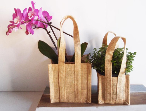 "Natural Jute Plant Tote Bag 6 1/2"" x 6 1/2"" x 14"""