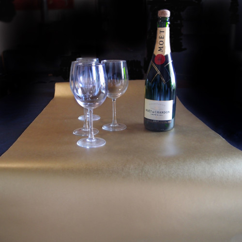 """20"""" x 10 yards Metallic Gold Paper Disposable Table Runner By The Roll"""