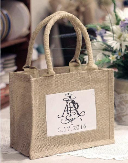 "Jute Burlap Tote w/Photo Pouch 10"" x 8"" x 5"""