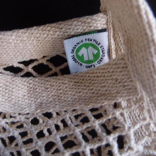 "Cotton Net Drawstring Bag with Fabric Trim Bottom 15 1/2"" x 16"""