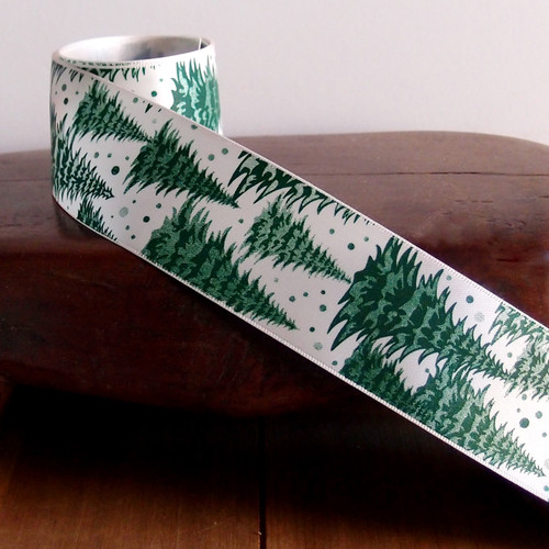 """1 5/8"""" Christmas Pine Trees with White Ribbon"""