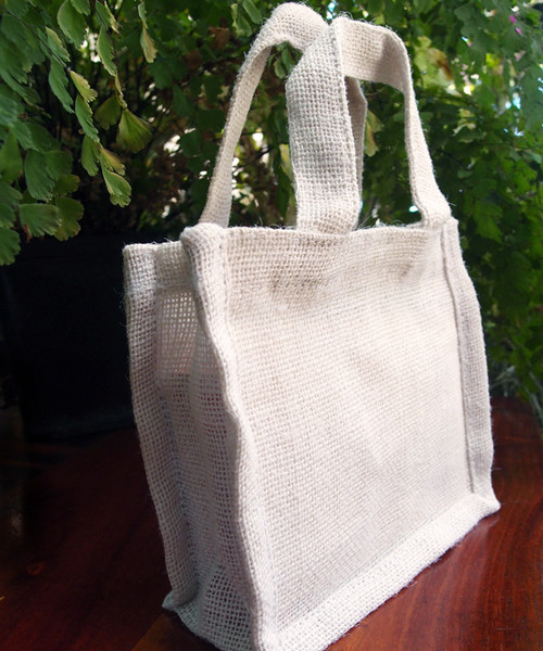 "Small Gusset Jute Bags White 7"" x 6"""