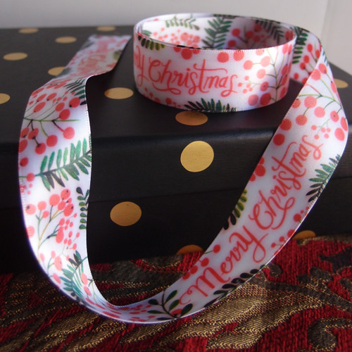 "1"" Christmas Berry Ribbon"