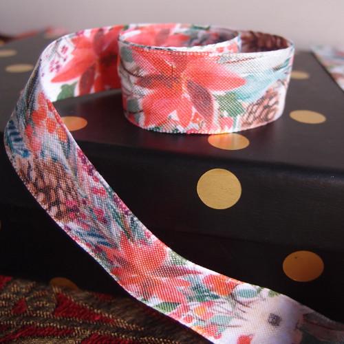 """1"""" Christmas Flowers Ribbon"""