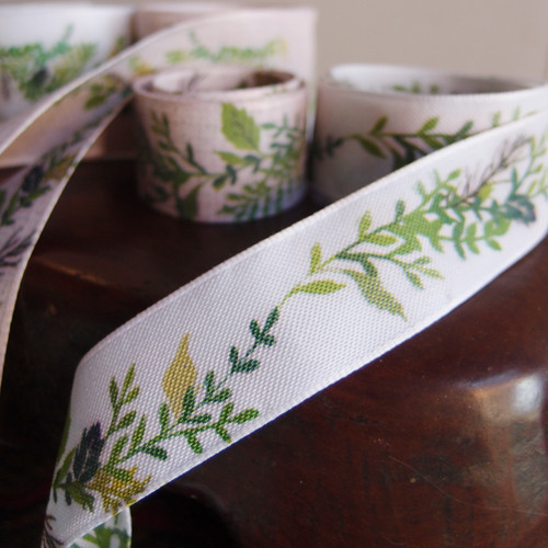 """1"""" Green Leaves with White Ribbon"""