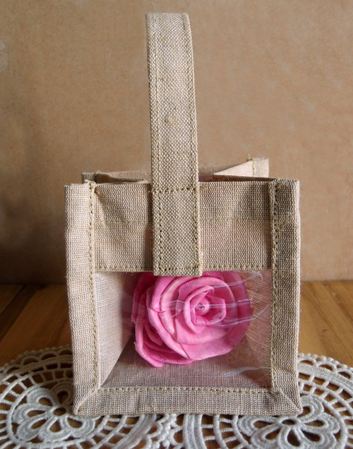 "Mini Burlap Tote with Window 4 1/4"" x 4 1/4"""
