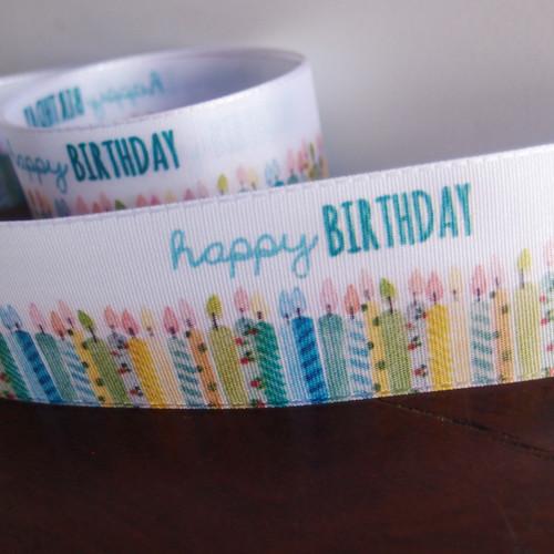 "1 1/2"" Blue Happy Birthday Candles Ribbon"