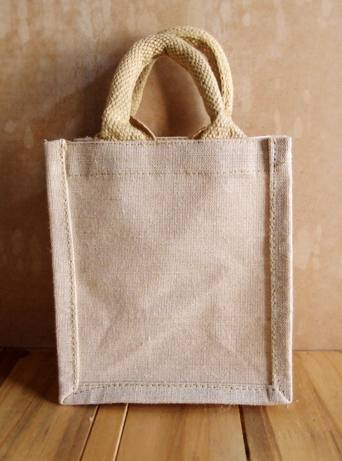 Small Burlap Tote Bag 6x7