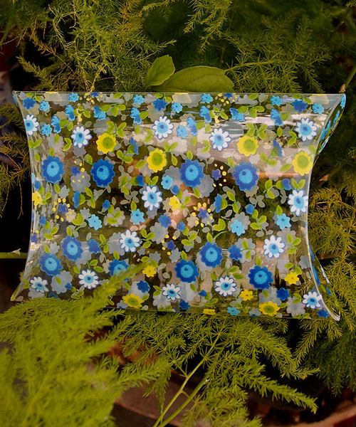 "Pillow Box-Yellow/Blue Floral 3 1/2""x3""x1"""