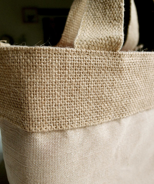 "Small Jute Cotton Blend Tote with Natural Burlap Accents 11 1/2""W x 7 1/2""H"